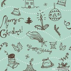 Free Hand drawn Christmas pattern seamless vector  vector download