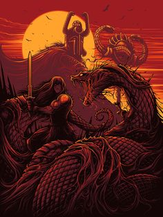 Dan Mumford – Both Sides Art Show at Gallery 1988 Fantasy Kunst, Dark Fantasy Art, Dark Art, High Fantasy, Art Pop, Conan Der Barbar, Dan Mumford, Snake Art, Conan The Barbarian