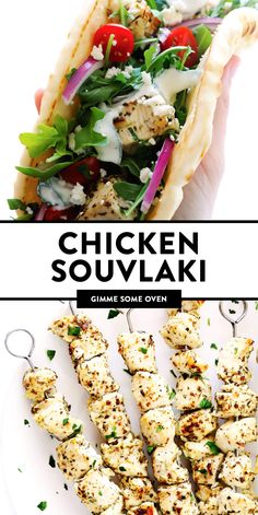 This easy Chicken Souvlaki recipe is made with the most delicious garlic lemon herb marinade, and it can be made in the oven or on the grill - you choose! Greek Chicken Pita, Greek Chicken Souvlaki, Greek Chicken Recipes, Greek Recipes, Greek Pita, Pita Recipes, Cooking Recipes, Healthy Recipes, Soup Recipes