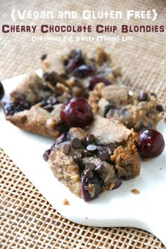 {Vegan and Gluten Free} Cherry Chocolate Chip Blondies
