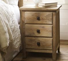 Mason Reclaimed Wood Bedside Table - Wax Pine finish | Pottery Barn $449