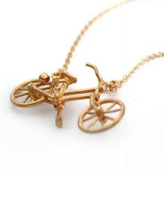 Vintage bicycle necklace by Alex Monroe