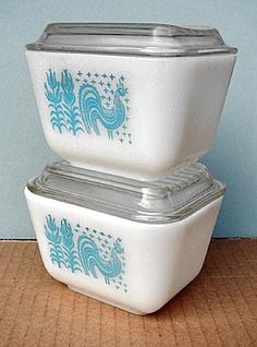 Vintage aqua Pyrex fridge dishes. Great for butter..a stick just fits!