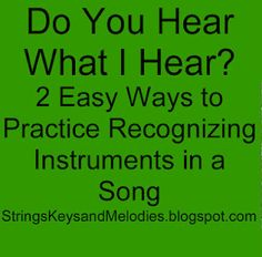 Easy ways to practice recognizing instruments in a song: This would work great for our student achievement goal for the third grade SOL to identify instruments by sight and sound.