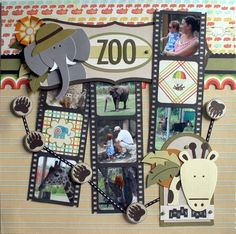"Darling ""Zoo"" Scrapbooking Layout...with film strip photos!  Two Peas in a Bucket."