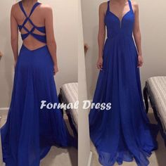 Simple blue chiffon long prom dress, A-line V-neck evening Dress,formal dresses