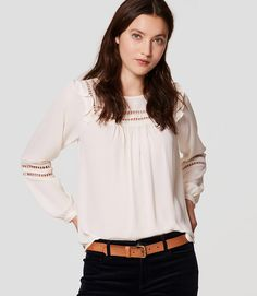 Primary Image of Lacy Ruffle Shoulder Blouse