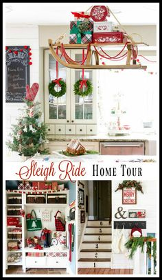 Sleigh Ride Christmas home tour with lots of  farmhouse style decor and rustic family room