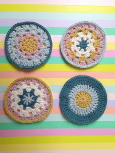 Pastel crochet coasters  set of four by francey's corner on Etsy