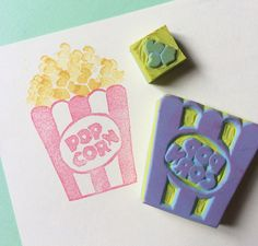 POPCORN Set-Hand Carved Rubber Stamp Carving Stamp Handmade Stamp on Easy