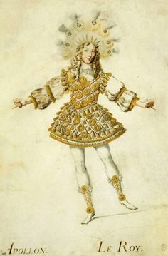 Louis XIV, king of France, in the costume of Apollo of the ballet of the 'Noces de Thetis and Pelee', in by Henri de Gissey Theatre Costumes, Ballet Costumes, Louis Xiv Versailles, Luís Xiv, Ludwig Xiv, Roi Louis, 17th Century Fashion, French Royalty, Baroque Art
