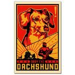 """Obey the Dachshund - The website says, """"This propaganda shows mankind as mere Dachshund servants.""""  hahaha!!   www.cafepress.com/dogs_of_war/625698"""