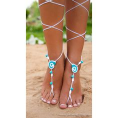 Seashell White and Aqua Crochet Barefoot Sandals Nude Shoes Bridal... ($18) ❤ liked on Polyvore featuring shoes, sandals, jewelry, accessories, aqua, women's shoes, bride shoes, white shoes, bridal shoes and white bridal sandals