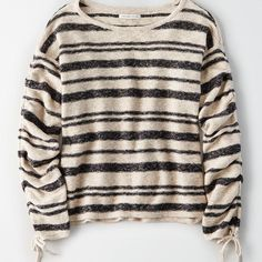 AE GATHERED SLEEVE STRIPE SWEATER ($45) ❤ liked on Polyvore featuring tops, sweaters, stripe top, striped pullover sweater, stripe sweater, striped top and tie sweater
