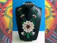 Mexican Huichol Beaded White Flower Necklace CFG-0042 от Aramara