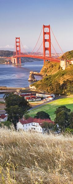 The Golden Gate Bridge, San Francisco, California, as viewed from Cavallo Point in Sausalito. The property sprawls across the lush grounds of a former US Army post.