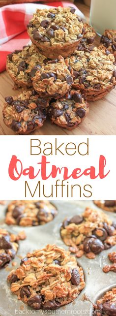 Baked Oatmeal Muffins are a gluten-free healthy snack with a flavorful combination of banana and chocolate chips. This is the best step-by-step guide to tasty and filling muffins. #oatmeal #banana #chocolatechip #muffins #oatmealmuffins