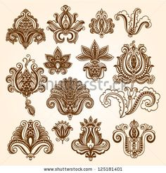 Ornamental flowers. Vector set with floral elements in vintage style. Indian mendie by Bariskina, via ShutterStock