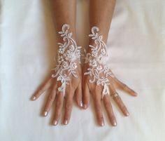Wedding gloves adorned pearls Ivory  bride glove by GlovesByJana