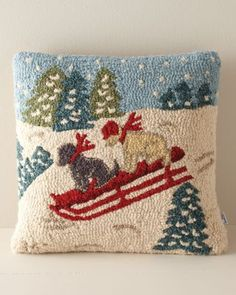 Joy Ride Dogs Hooked Wool Pillow Cover