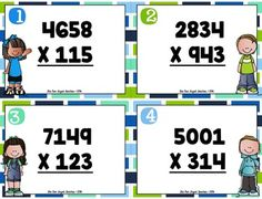 Multi Digit Multiplication Task Cards - 4 Digit by 3 Digit