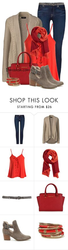 """""""Fall Outfit"""" by wulanizer ❤ liked on Polyvore featuring 7 For All Mankind, Lands' End, Sans Souci, MANGO, MICHAEL Michael Kors, Sole Society and Amrita Singh"""