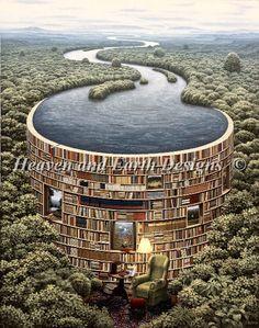 Bibliodame by Jacek Yerka.