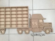 Pixar Mack Designed by WoodenWares Personalised Matchbox Truck - These attach to the wall by the 3M Velcro Strips so they don't damage any walls. Lots more Designs available on our Website