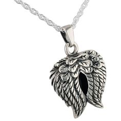 Angel Wings Pendant and Necklace for Ashes | www.stardust-memorials.com #cremationjewelry #memorialjewelry #memorialize