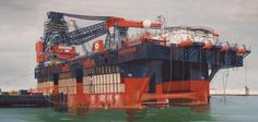 Maritime Artist Lenie Simons Molenwijk made the above seen cm oilpainting of the HERMOD. Lenie is making maritime painting for more the 40 years, see more of her work at www. Merchant Navy, Oil Rig, Oil And Gas, Heavy Equipment, Rigs, Paddle, Crane, Truck, Texas
