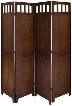 3 or 4 Panel Solid Wood Room Screen Divider Antique Walnut (4 Panels)