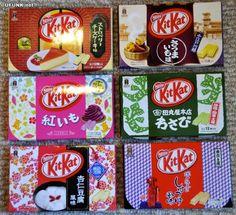 Japanese Kit-Kats come in the best flavors! wasabi, soy sauce, yellow sweet potato, purple sweet potato, cheese cake, and annin dofu :)