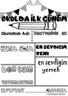 First Day School, Pre School, Turkish School, Class Bulletin Boards, Learn Turkish, Kids English, School Teacher, Slogan, Alphabet