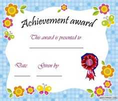 Printable Achievement award certificate