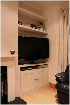 Fitted TV alcove cupboard and floating shelves Living Room Storage, Home Living Room, Alcove Cupboards, Home, Living Room Shelves, New Living Room, Built In Cupboards, Room Inspiration, Victorian Living Room