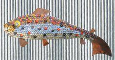 bottlecap fish mosaic