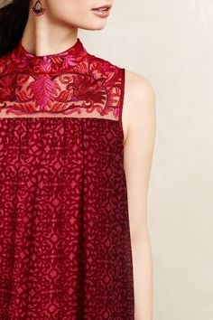 Amara Swing Dress by Niki Mahajan Red Motif Look Fashion, Indian Fashion, Womens Fashion, Casual Dresses, Fashion Dresses, Summer Dresses, Swing Dress, Dress Up, Shirts & Tops