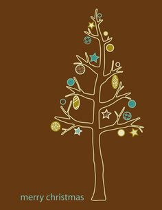 idea: hand sketched black pen tree form + computer graphic colored ornaments.