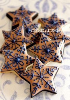 navy and beige stars | Cookie Connection [posting photo for inspiration only]  #DecoratedCookies #Cookies