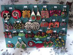 lote 25 pares aros modernos hechos y pintados a mano