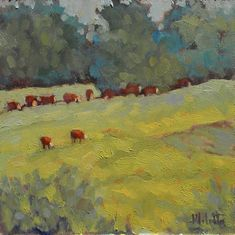 Cows Hereford Landscape Painting