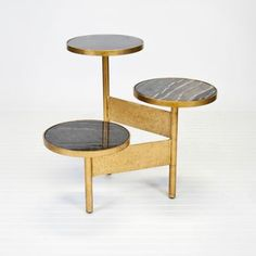 Colin Gold Leafed Side Table - Black Marble - Worlds Away | Clayton Gray Home