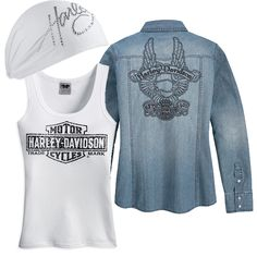 Spring is here! Harley-Davidson Spring Collection... Motorcycle Wear, Biker Wear, Motorcycle Style, Biker Style, Harley Shirts, Harley Gear, Lady Biker, Biker Girl, Harely Davidson
