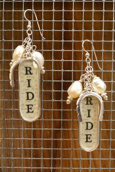 Another new product: Sterling silver ear wires with freshwater pearls and silver plate notched horseshoe and ride bezel.  For more equestrian jewelry check out http://coopercreekcollections.com