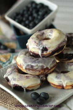 Baked Blueberry Lemon-Glazed Doughnuts