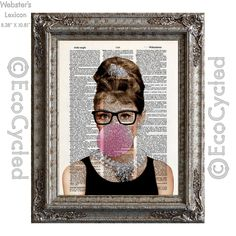 New to EcoCycled on Etsy: Audrey Hepburn in glasses blowing a bubble on Vintage Upcycled Dictionary Art Print Book Art Print Movie Hollywood Icon (10.00 USD)