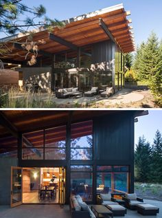 This modern cabin has a sloped roof that provides some shelter from the elements and makes it easier to enjoy the outdoor seating area regardless of what the weather is doing. And if it suddenly takes a turn for the worse, the doors leading back inside are right beside the seating area.