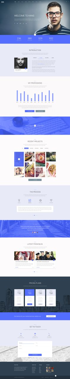 Hans Material Design Personal Portfolio PSD Template - Download theme here : http://themeforest.net/item/hans-material-design-personal-portfolio-psd-template/16151727?ref=pxcr