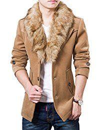 Winter Casual Slim Fit Wool Coat Men Turn Down Detachable Fur Collar Jacket Winter Fashion 2016, 2016 Winter, Casual Suit Jacket, Blazer Jacket, Mens Wool Coats, Fur Coats, Fur Collar Jacket, Mens Sweatshirts, Winter Jackets