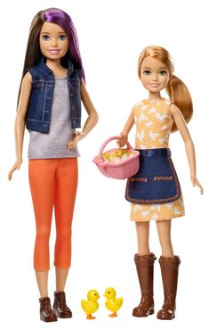 Stacie doll has on an orange dress with polka dots and chicken print, denim apron and brown wellies. Barbie Car, Doll Clothes Barbie, Barbie Skipper, Mattel Barbie, Barbie And Ken, Barbie Stuff, Barbie Stacie Doll, Ken Doll, Barbie Fashionista